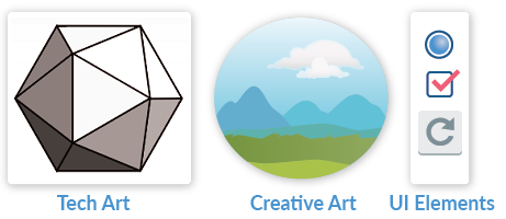 An icosahedron labelled Tech Art, a mountain landscape scene labeled Creative Art, a radio button, check box and replay button grouped with the label UI Elements
