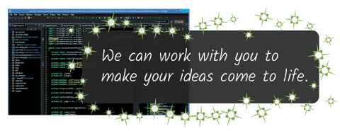 The Eclipse programming environment with an HTML5 project open, and the caption: We can work with you to make your ideas come to life.